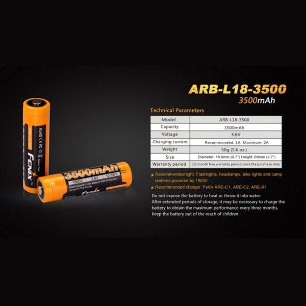 Fenix 18650 ARB-L18-3500 - E