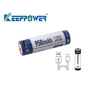 Keeppower P1495U 14500 950mAh mit USB Lademöglichkeit und PCB A