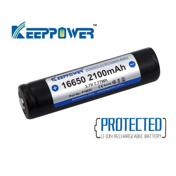 Keeppower P1665C 16650 2100mAh Akku geschützt (Pluspol erhöht) A