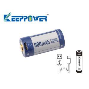 Keeppower P1680U 16340 800mAh Akku mit USB Ladefunktion A